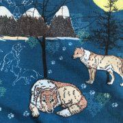 Detailfoto van de stof eenzame wolf, bergen en de maan