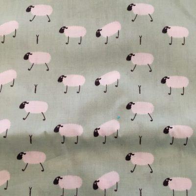 Stof mondkapje mintgroen met schapen